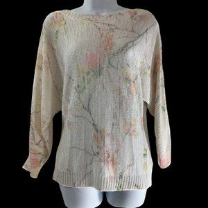 Sioni Womens Floral Crew Neck LS White Sweater